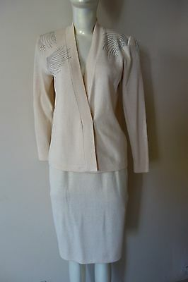 St John Marie Gray 2 Pc Suit Jacket Skirt Knit Ivory Size 4 Pre-Owned