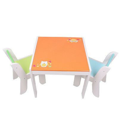 Labebe Owl Wooden Table & 2 Chairs Children Toddler Furniture Set XMAS Gift Box