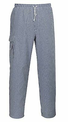 Portwest Chester Chef Trousers Elastic Waist 100% Cotton Catering Workwear C078
