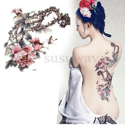 Large Removable Stickers Body Art Flower Tree Temporary Tattoos Waterproof