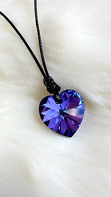 Girls Purple Blue Swarovski® Crystal Heart Pendant Necklace Waxed Cord