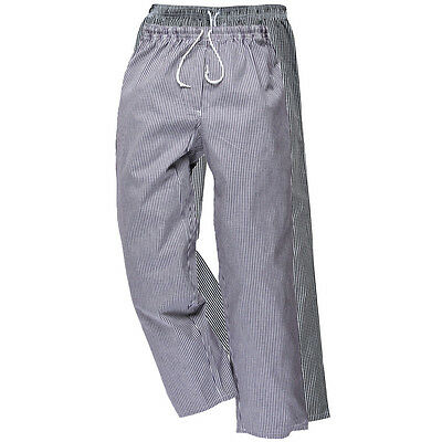 Portwest Bromley Chef Trousers Pants Elastic Waist 100% Cotton Food Cater C079