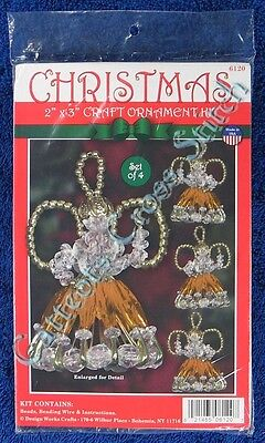 "Christmas Bead Kit Gold Angels Craft Beaded Kit Makes 4 2"" x 3"""