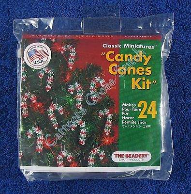 "Christmas Bead Kit Mini Candy Cane Ornament Makes 24 2"" 5 cm Quick & Easy"