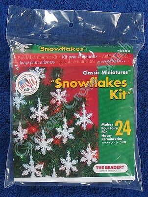 "Christmas Bead Kit Mini Snowflake Ornament Makes 24 2"" 5 cm Quick & Easy"