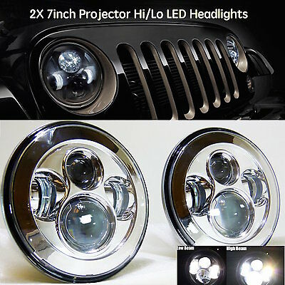 2X 40W 7inch Round LED Headlights Hi/Lo Driving Work Light For Jeep Wrangler