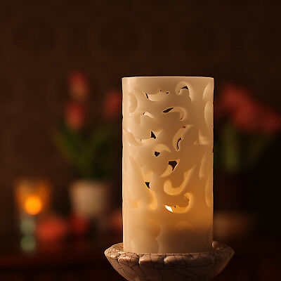 Battery Operated Led Candle Flameless Hollow Out Wax Candle with Timer