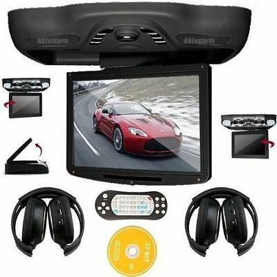 "12.1""HD Car Roof Mount DVD CD Player Flip Down Monitor SD Games FM +Headphones"