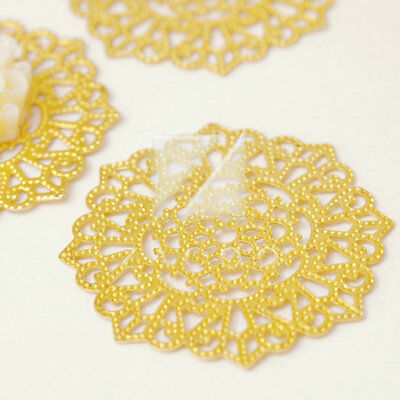 10Pcs Raw Brass 30.5x30.5x0.3mm Flower Filigree Links DIY Cabochon Setting MB589