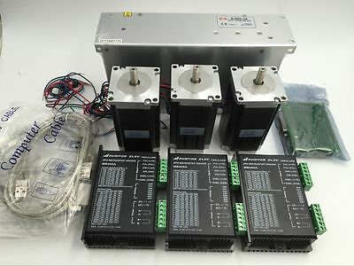 Nema23 3Axis 3Nm Stepper Motor 425oz.in+Driver+Power Supply+5Axis Breakout Board