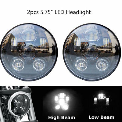 "Pair 5 3/4"" 5.75inch LED Headlights Cree Motorcycle Hi/Lo Projector For Harley"
