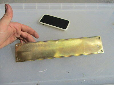 Vintage Brass Finger Plate Push Door Handle Architectural Antique Art Deco 1931