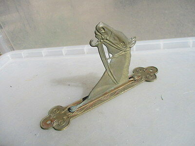 Old Brass Horse Gong Bracket Holder Hanger Vintage / Retro