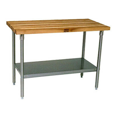 "John Boos JNS13 Wood Top Work Table w/ Undershelf 96""W x 30""D"