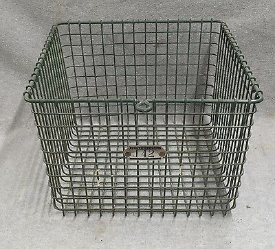 Vintage Gym Locker Room Green Wire Pool Basket Tagged Number 142 1422-16