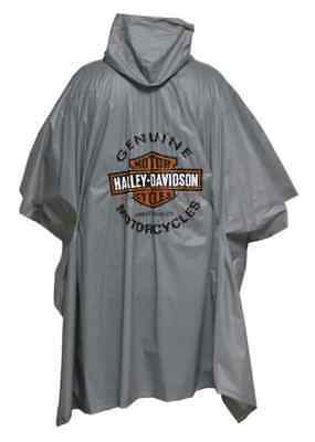 Harley-Davidson Long Bar & Shield Waterproof Vinyl Rain Poncho, Gray RP31254