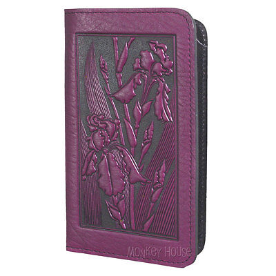 IRIS Oberon Design Leather CHECKBOOK COVER/Holder Orchid floral/botanical CKA16