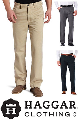 NEW Haggar Men's Sustainable Stretch Chino Flat Front Straight Fit Pants