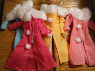 Cute Barbie Sindy Doll Size (Not Mattel) Dress Clothing Winter Coat 4 Colours