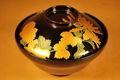 Vintage Japanese Lacquer Tea or Rice Bowl / Hand Painted with Gold Mackie