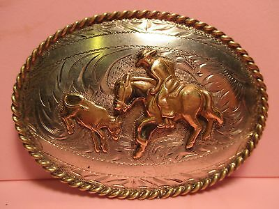 Tex-Tan SOLID STERLING SILVER Front CUTTING HORSE TROPHY Belt Buckle MAKE OFFER