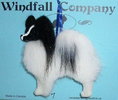 Black White Papillon Dog Plush Christmas Canine Ornament # 7 by WC