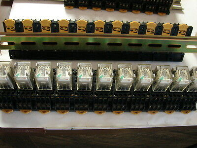 Relay, Omron MY4N-2D 24VDC, 11 each w Bases, Rail.