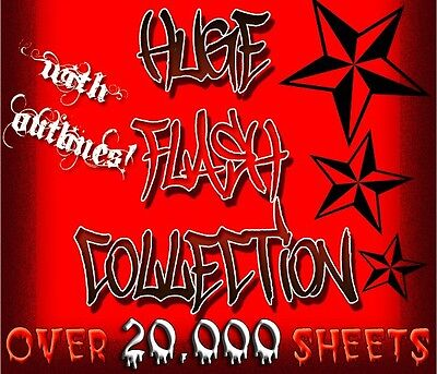 """Tattoo Flash """"huge Flash Collection"""" Over 20,000 Sheets"""