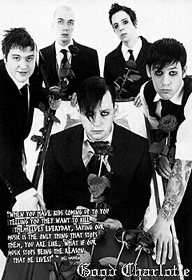 GOOD CHARLOTTE POSTER Black & White Group Shot - Roses