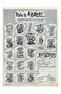 New Hot Rod Poster 11x17 Ed Roth Ad Weird-o T Shirts Rat Fink Feb 1965