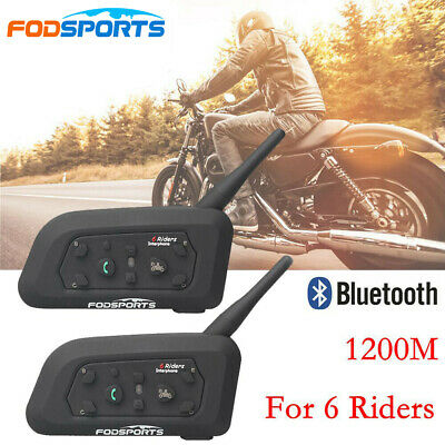 2x 1200M BT Bluetooth Casco De Moto Dirección Mic Intercomunicador Interphone 6