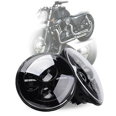 "AU Black 7"" Inch LED Headlight For Harley Hi/Lo Beam Assemblies Lamp Projector"