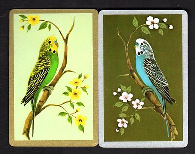 Vintage Swap/Playing Cards -  Blue & Green Budgerigars Pair