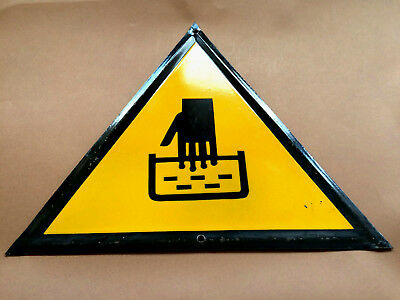 Vintage Tin Porcelain Enamel Sign Warning Hot Liquid Water Industrial 1960's