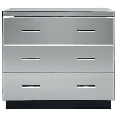 Charles Bentley Grey Glass 3 Drawer Chest Of Drawers Bevelled Furniture Storage