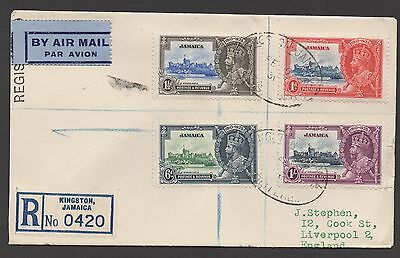 Jamaica. 1935 Silver Jubilee. Used set on registered cover to England.