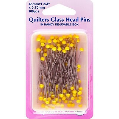 Hemline 100 x 45mm  Long Quilters Glass Head Pins Dressmaking Quilting Sewing