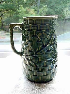 "Brush McCoy Morning Glory Basketweave Stoneware Pitcher Green 9"" Tall"