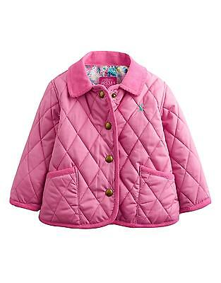 Joules Pink Mabel Baby Girls Quilted Jacket With Corduroy Collar BNWT