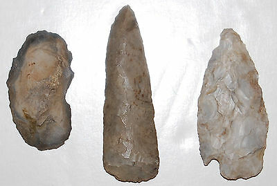 Authentic Native Knife Blades (2) & Chert Scraper from Southwest Michigan