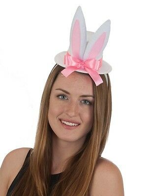 Easter Mini Top Hat with Bunny Rabbit Ears White Costume Accessory.