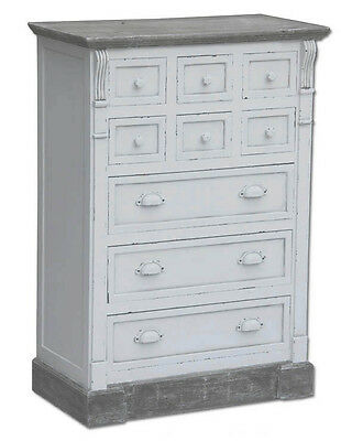 White Shabby Chic Bedroom Furniture 9 Drawer Chest Of Drawers - Matching Pieces