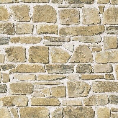 Stone Wall Effect Wallpaper by Rasch - Natural 265606