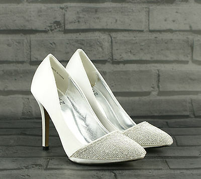 Womens Ladies Silver High Heel Diamante Bridal Prom Evening Court Shoes Size New