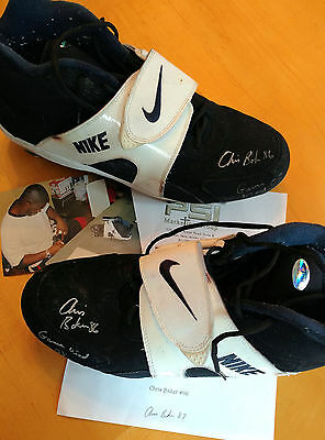 Chris Baker Hand Signed Game Used Nike Air Football Cleats Jets Patriots NFL