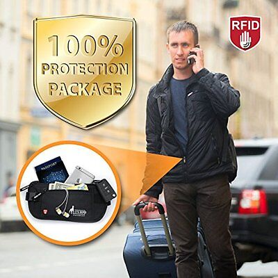 RFID Money Belt For Travel with 1x Passport and 6x Credit Card Protector Sleeves