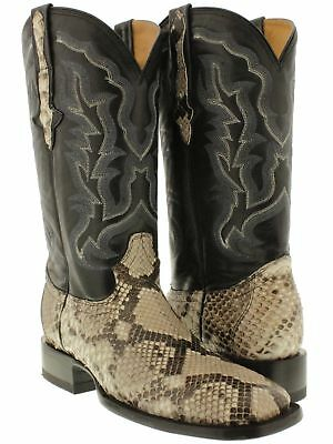 mens exotic genuine snake skin python leather western cowboy square toe boots...