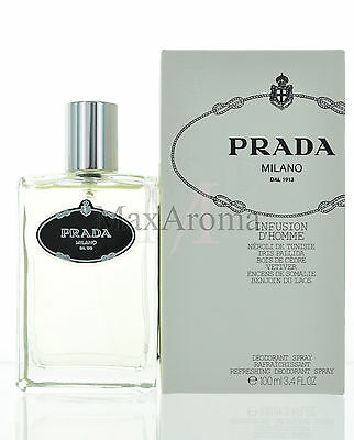 Infusion D'homme by Prada Deodorant Spray 3.4 oz  100 ml for Men NEW