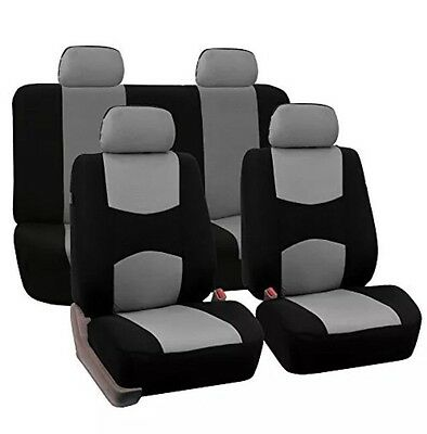 FH Group FB050114 Flat Cloth Car Seat Covers Full Set Gray Black Color