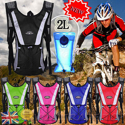 UK Hiking Camping Cycling Running Hydration Pack Backpack Bag + 2L Water Bladder